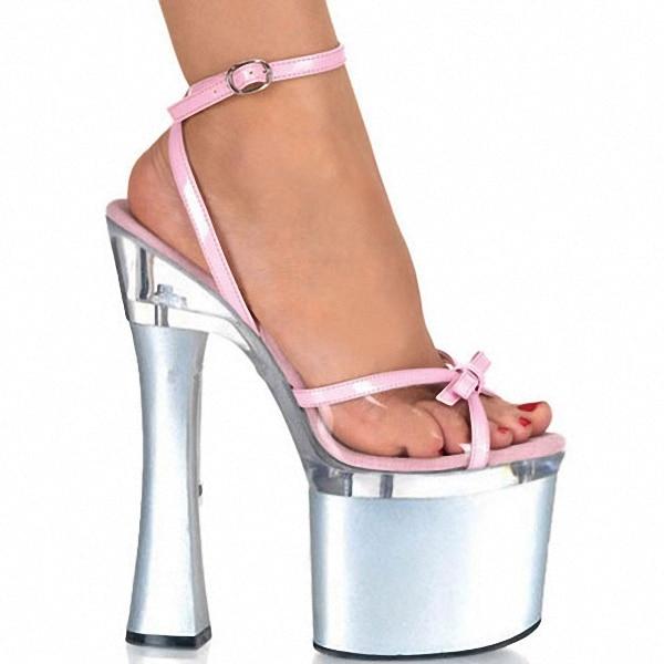 Shining Silver 18CM Sexy Super High Heel 7 inch Platforms Pole Dance sandals Star Model Shoes sexy Wedding Shoes classic black plus size 15cm super high heel shoes platform sandals slippers pole dance shoes wedding shoes