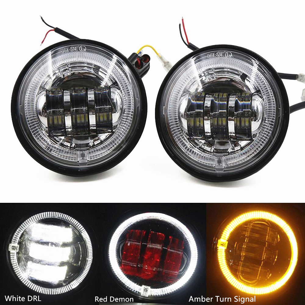 """4-1/2"""" 4.5 Inch 30W LED Fog Lights Red Demon White DRL Amber Turn Signal Halo Motorcycle Headlight Auxiliary Passing Light Lamp"""