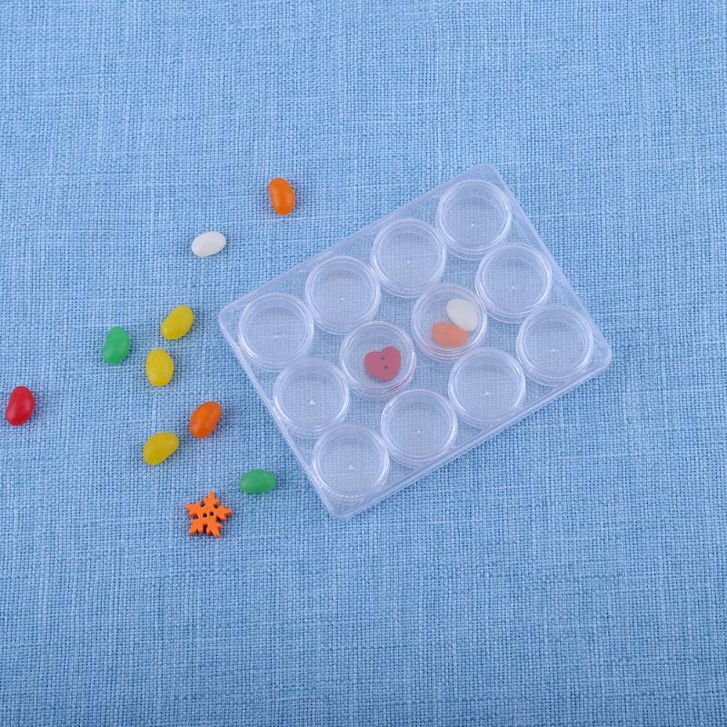 12 шт. круглый Пластик прозрачная коробка для хранения таблетки конфеты владельца контейнера Портативный Медицина Дело Мини-шкатулка