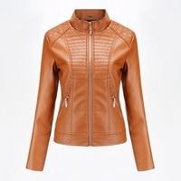 2019 Spring Autumn black leather jacket women biker jacket leather coat women Good Quality Womens PU faux leather yellow Beige