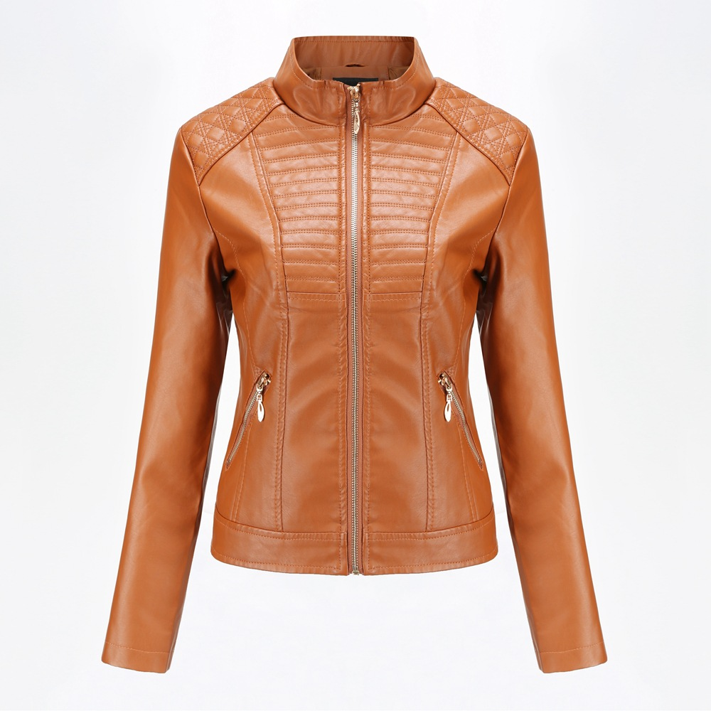 2019 Spring Autumn black   leather   jacket women biker jacket   leather   coat women Good Quality Womens PU faux   leather   yellow Beige