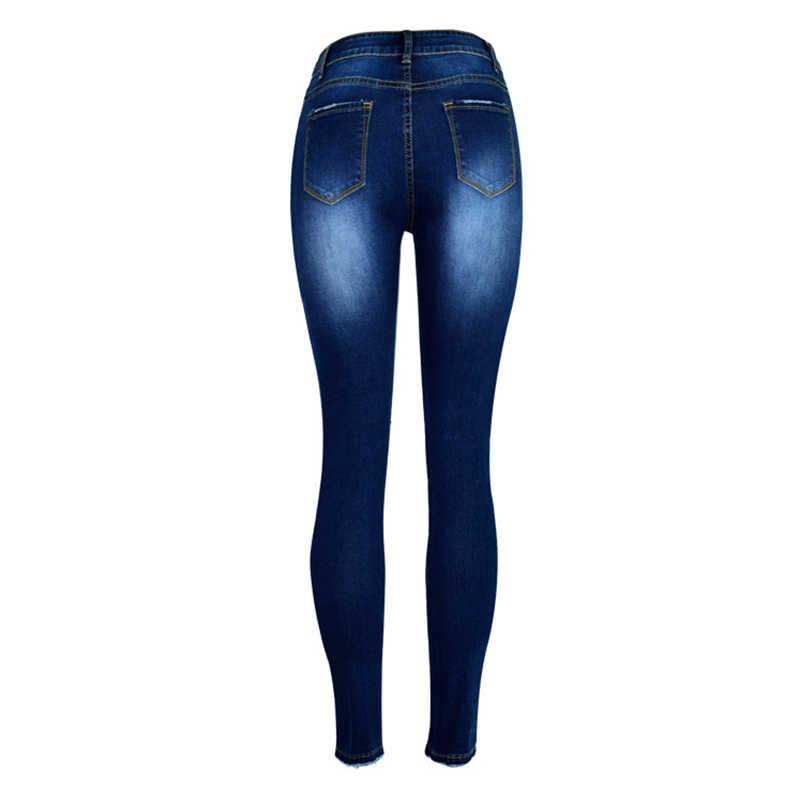 e7234db7845 ... Weweya 2018 жемчужные бисероплетенные рваные джинсы женские с высокой  талией узкие джинсы высокоэластичные джинсы джинсовые узкие ...