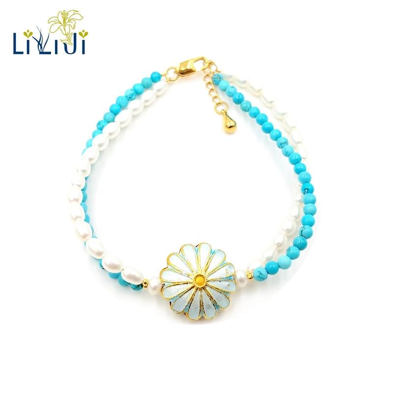 Lii Ji véritable minuscule perle d'eau douce teinte bleu Turquoise Bracelet pour femmes bijoux de mode