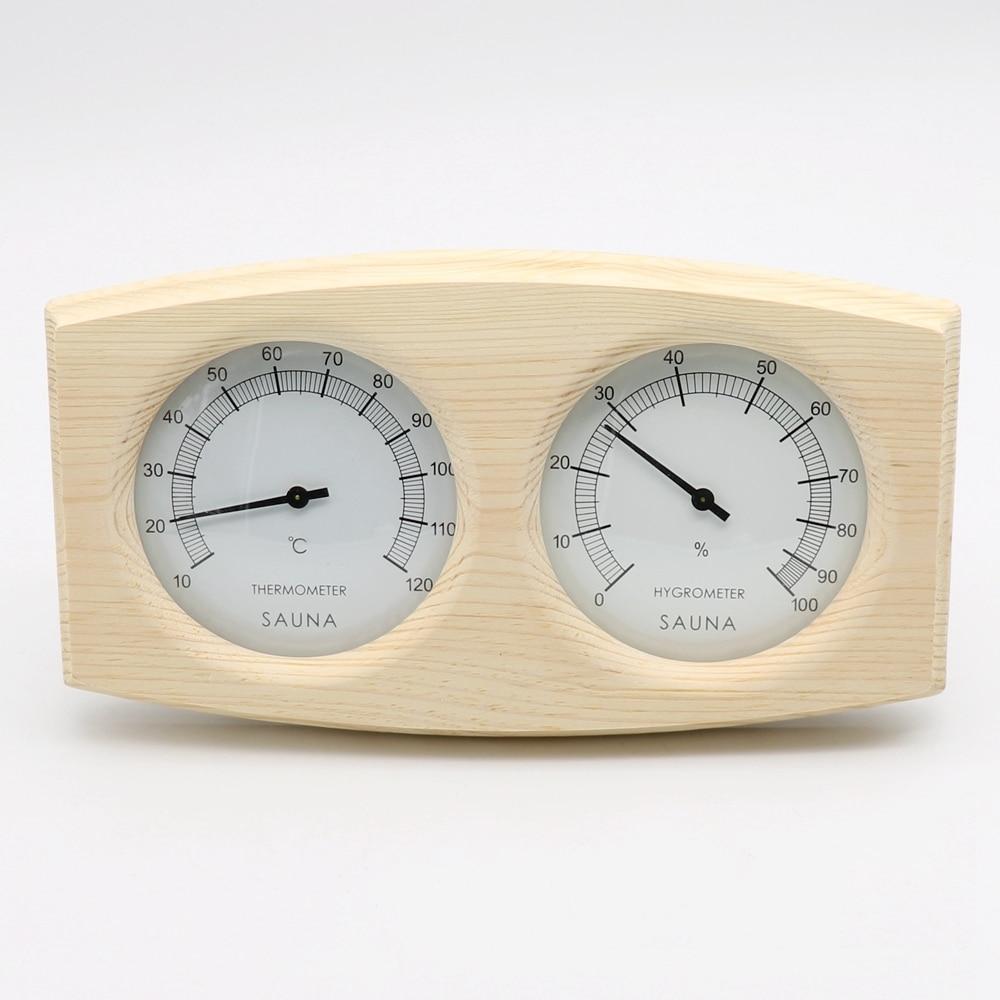 Podwójne akcesoria do sauny Drewniany higrotermograf Termometr - Artykuły gospodarstwa domowego