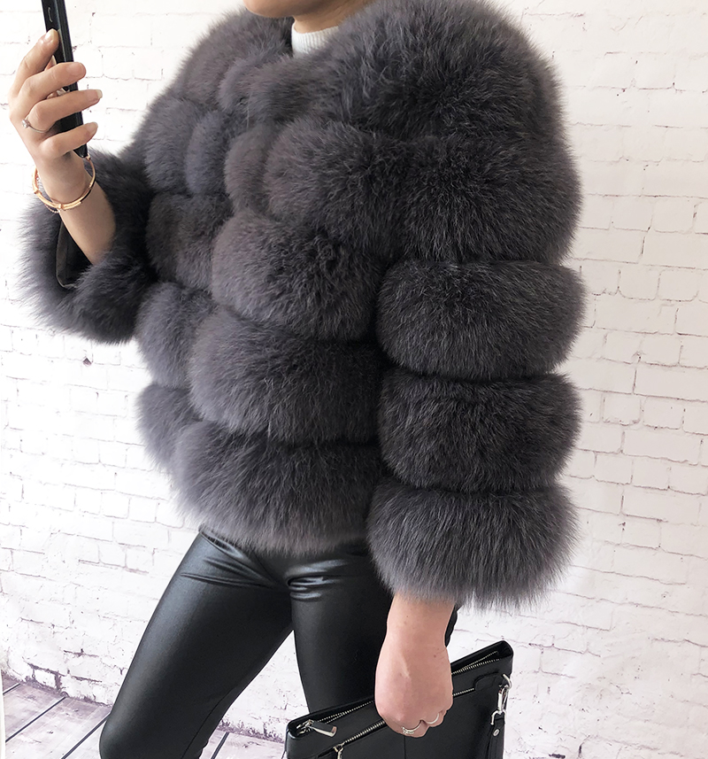 2019 new style real fur coat 100% natural fur jacket female winter warm leather fox fur coat high quality fur vest Free shipping 45