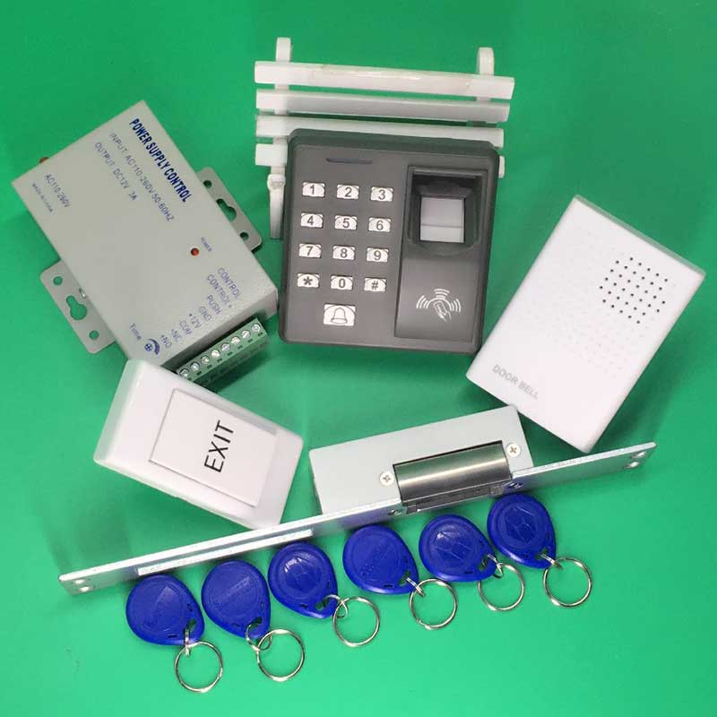 цена на Fingerprint 125KHz RFID Reader Password Keypad + NO Electric Strike Lock Door Access Control System Kit for Office / House
