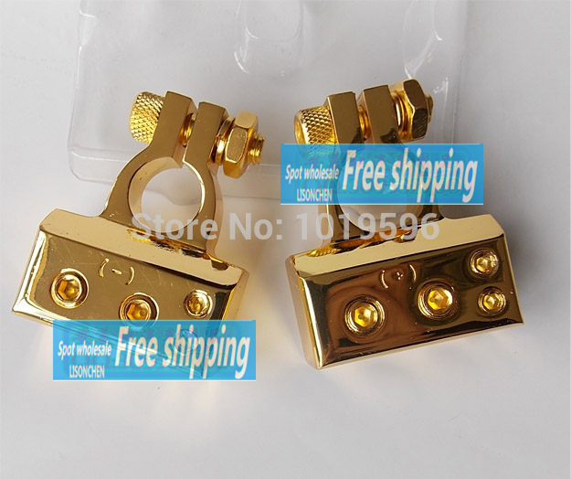 for Car battery battery clip gold plated connectors head a pair of valence Free Shipping