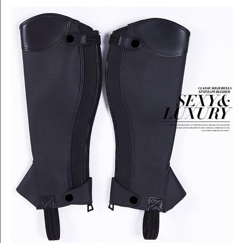 1 Pair Black Soft PU Equestrian Horse Riding Gaiters Half Chaps Medium Black Leg Covers Horse Riding Leg Protector