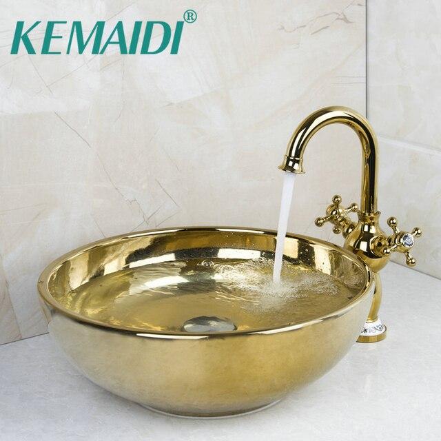 KEMAIDI Polished Golden Bowl Sinks / Vessel Basins With Waterfall Faucet  Washbasin Ceramic Basin Sink &