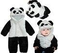 Бесплатная доставка новые симпатичные животных panda ребенка ползунки цельный долго хеллоуин костюм для мальчика и девочка