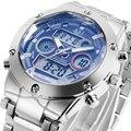 2016 moda marca ASJ digital LED de pulso de quartzo masculino aço relógio legal militar do relógio de presente