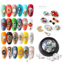 New 1 Box Water Drop/Bow Shape Colorful Nail Art Rhinestones Alloy Glass Stones DIY Manicure Gems Nail Decorations Accessories