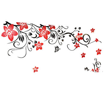 3D Wall Sticker Romantic Flower Sticker Living Room Wall Decals TV Background Decoration Maison Modern Wall Stickers Art Decals 8