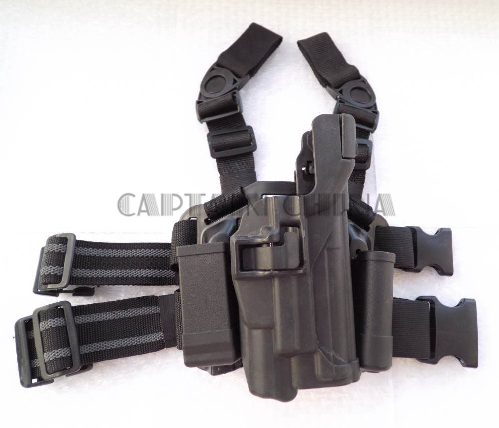 Military Tactical Drop Leg Thigh holster Lv3 Light Bearing Holster for SIG SAUER P226 P2 ...