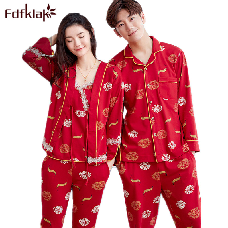 Fdfklak L XL XXL 3XL Plus Size Wedding Couple Pajamas Spring Autumn Family Pyjamas Pijama Set Sleepwear Sets Home Clothes Q703