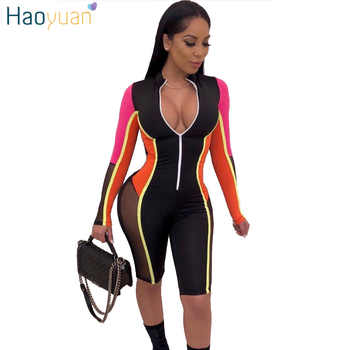 HAOYUAN 2019 New Sexy Mesh Splicing Playsuit Womens Streetwear Front Zipper Long Sleeve Shorts Jumpsuit Bodycon Rompers Overalls - DISCOUNT ITEM  40% OFF All Category