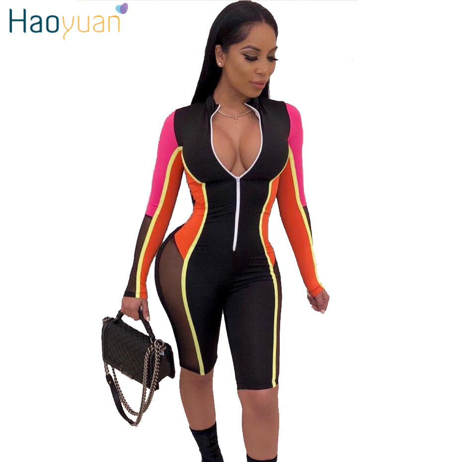 HAOYUAN 2019 New Sexy Mesh Splicing Playsuit Womens Streetwear Front Zipper Long Sleeve Shorts   Jumpsuit   Bodycon Rompers Overalls