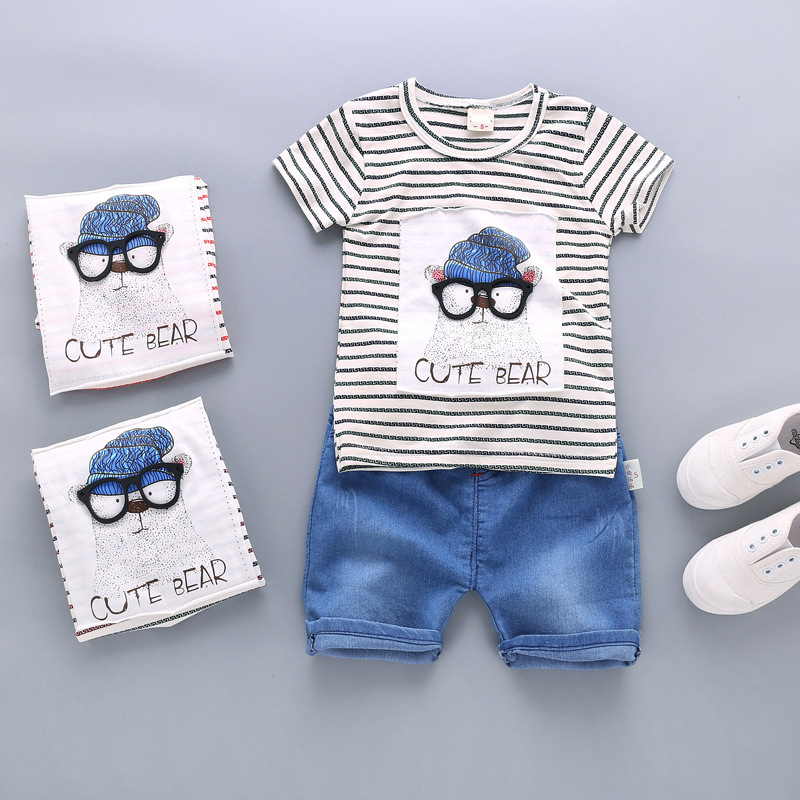 1 2 3 Years Little Baby Boys Summer Clothes Cotton 2017 New Boys Clothing Suit Kids Clothes Boys Shirts And Shorts 2 Pieces Sets 2015 new 3 7 years korean children s clothing brand boys 1set 100% cotton summer boys clothing sets kids clothes