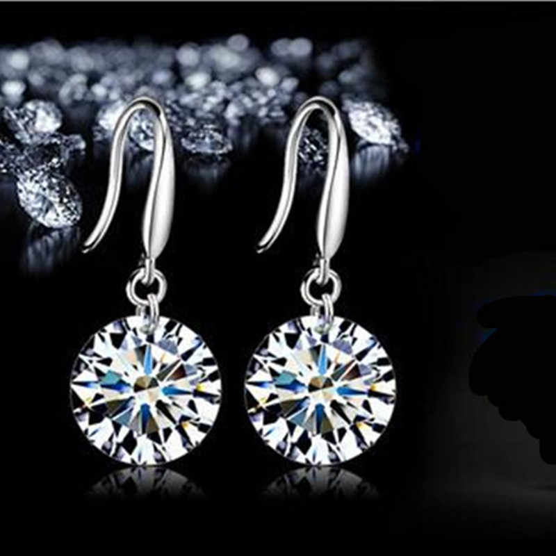New Arrival Jewelry Hanging Earrings Fashion Cz Crystal Silver Plated Elegant Bridal Drop Jewelry Earring    4ED227