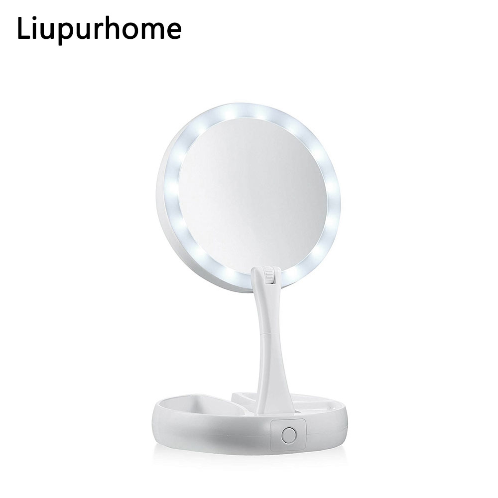 LED Folding Mirror Light 10X Magnifying Makeup Mirror Lamp Portable USB/Battery Desktop Double Side Cosmetic Mirror Lamp MYC