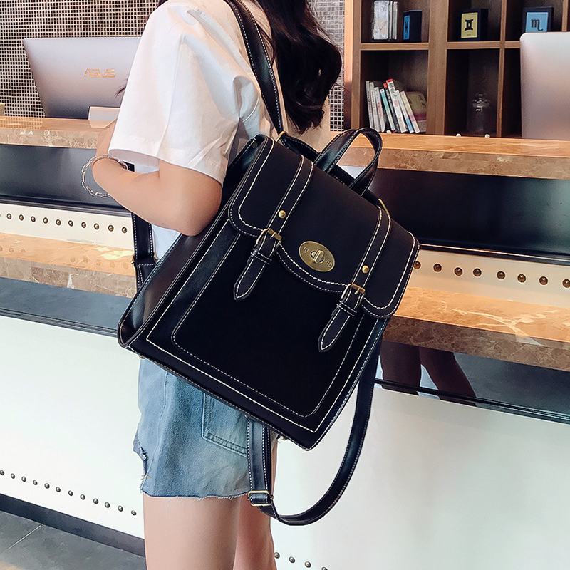 Image 2 - 2019 NEW Fashion Backpack 2pcs Set Women Backpack PU Leather School Bag Women Casual Style A4 Paper Women Backpacks Shoulder Bag-in Backpacks from Luggage & Bags