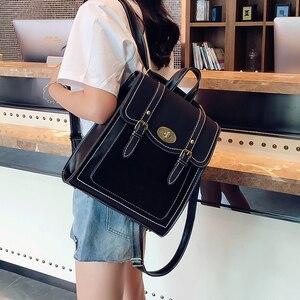 Image 2 - 2019 NEW Fashion Backpack 2pcs Set Women Backpack PU Leather School Bag Women Casual Style A4 Paper Women Backpacks Shoulder Bag