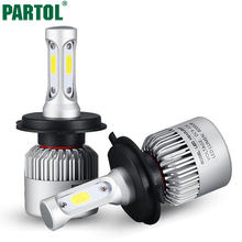 Partol S2 H4 COB LED Headlight 72W 8000LM Hi Lo Beam Car LED Headlights Bulb Head