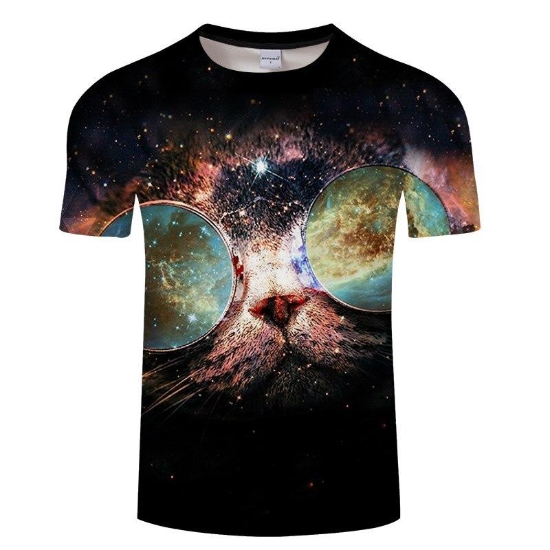 Черная футболка с 3D принтом кота для мужчин и женщин, летняя повседневная футболка с коротким рукавом и круглым вырезом, Топы И Футболки, Забавные футболки, Азиатские размеры S-6XL - Цвет: TXKH3135