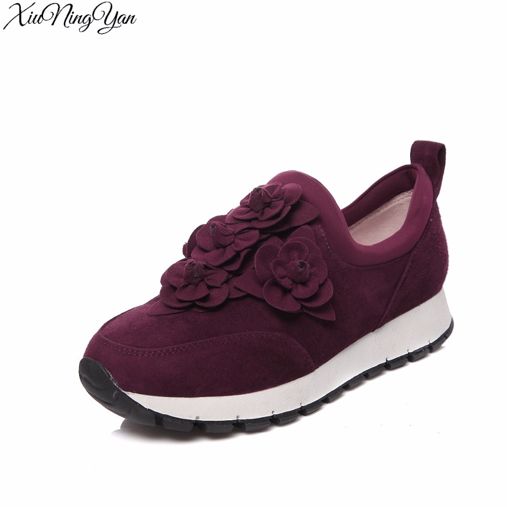 34-40 Comfort Shoes Breathable Flower decoration 2016  Personality Sheep Suede Women Casual Shoes Lace up Women's Flats парта rifforma comfort 34