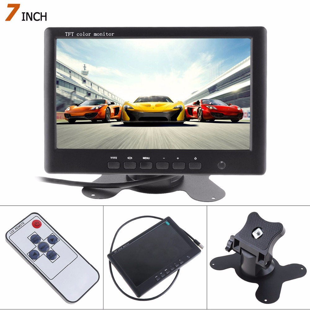 Hete verkoop! 800 * 480 7 inch HD kleuren TFT LCD-scherm Achteruitrijcamera Monitor 2 AV video-ingang Auto Reverse DVD VCD Player Monitor
