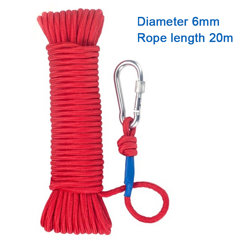 20M Professional Rock Climbing Cord Outdoor Hiking Accessories Rope 8mm Diameter High Strength Cord Safety Rope With Carabiner