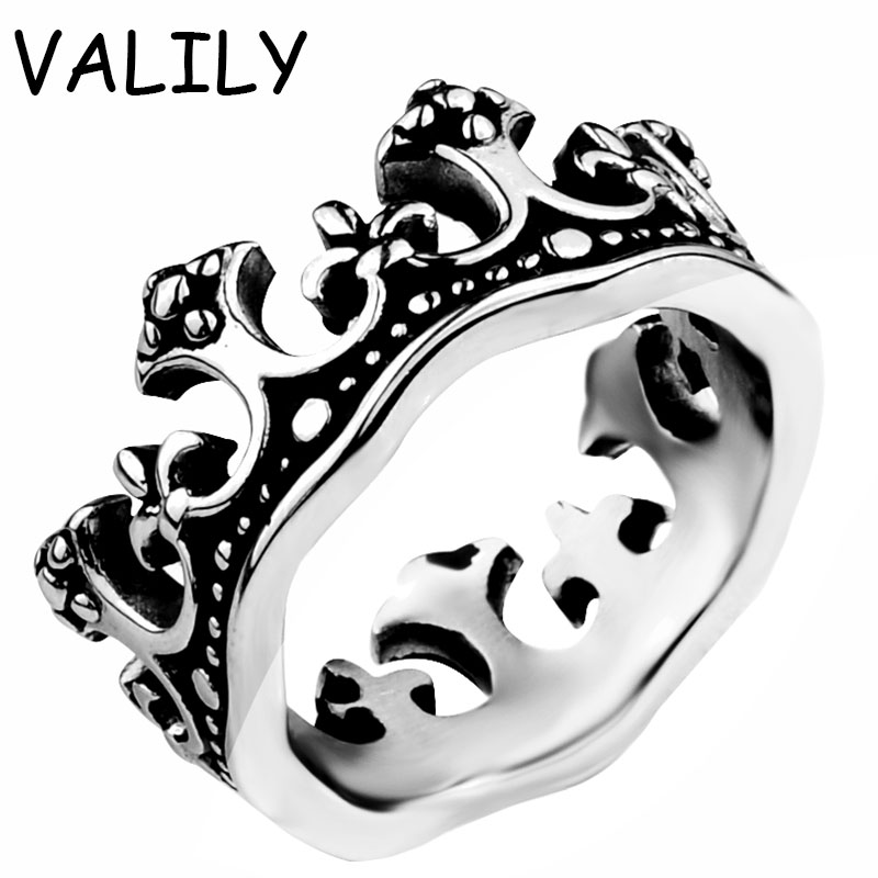 Unaza e kurorës Valily Jewelryl Royal King Crown Rings Dasma Knight Fleur De Lis Cross Vintage Ring për Femra çanta femme