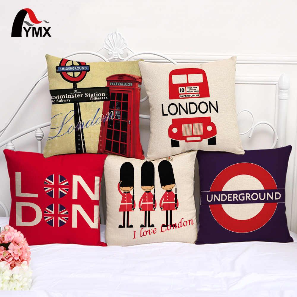 """Fymx 18 """"Gaya Inggris Katun dan Linen Sofa Sarung Bantal Mobil London Logo Mobil Cushion Cover Sarung Bantal Grosir"""