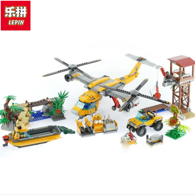 цены Lepin 02085 City series Jungle Air Drop Helicopter Model 60162 Educational Building Bricks Kits Toys as Kid New Year Gift