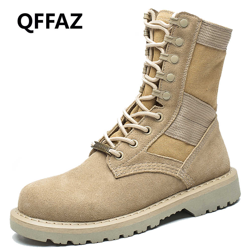 QFFAZ Winter Autumn men s military boots Force Tactical Desert Combat Ankle Boots  Army Work Shoes Leather 5057f42ffe08
