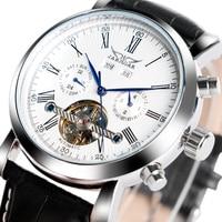 JARAGAR Luxury Brand Fashion Self-vento Meccanico Orologi Mens Giorno Data Affari Orologio di Sport 2017 New Cinturino In Pelle orologio