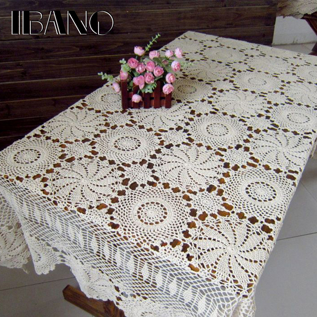 IBANO Cotton Tablecloth Handmade Vintage Flowers Design Crocheted Table cloth Lace Coasters Home Table Decoration Crafts
