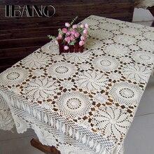IBANO nappe de Table en coton, Design floral Vintage fait à la main, en crochet, en dentelle, dessous de Table, décoration de la maison, artisanat