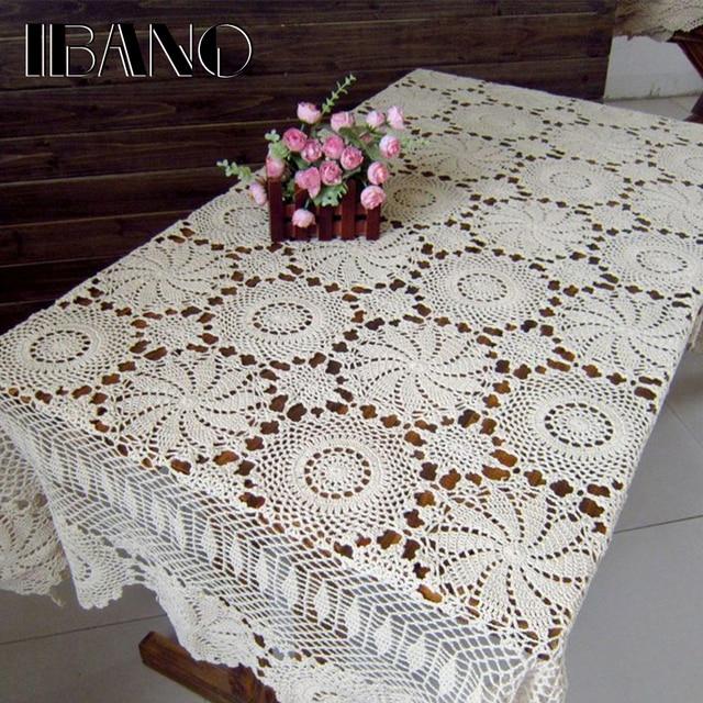 IBANO القطن سماط اليدوية خمر الزهور تصميم الكروشيه الجدول القماش الدانتيل الوقايات طاولة المنزل الديكور الحرف
