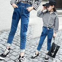 Kızlar Kot 2018 Bebek Kız Delik Yama Kot Pantolon Ince Sıska Çocuklar Tayt Pamuk Rahat Çocuk Kız Giysi Saçaklı Pantolon