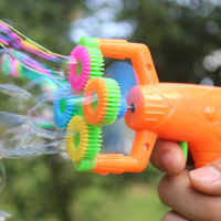 12*9cm Electric Soap Bubble Gun #5 battery power Automatic Bubble Water blowing machine kids holiday water gun toy d22