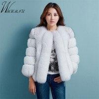 WMWMNU 2017 New Autumn Winter Coat Women Faux Fox Fur Coats Fake Fur Jacket Casual Loose