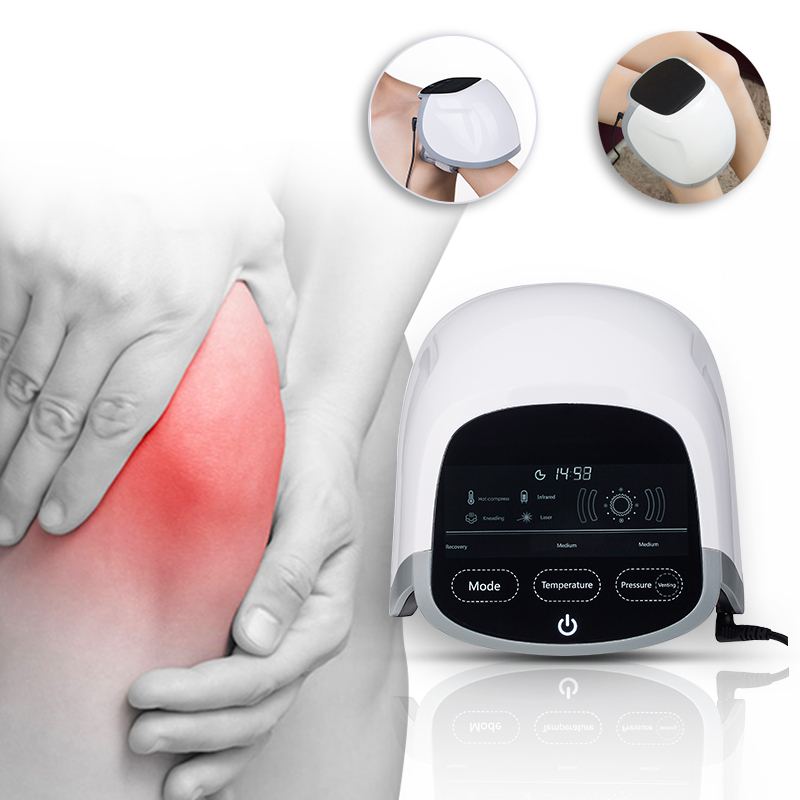 Best selling Ultrasonic pain relief knee joint pain relief massager 808nm laser far infrared light air pressure therapy device shades of midnight
