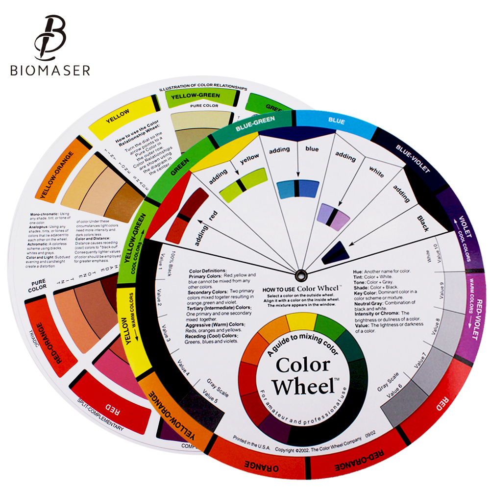 Tattoo Pigment Color Wheel Mix Round Nail Polish Gel Palette Wheel Paper Card Eyebrow Lip Nail Art Salon Tool Microblading
