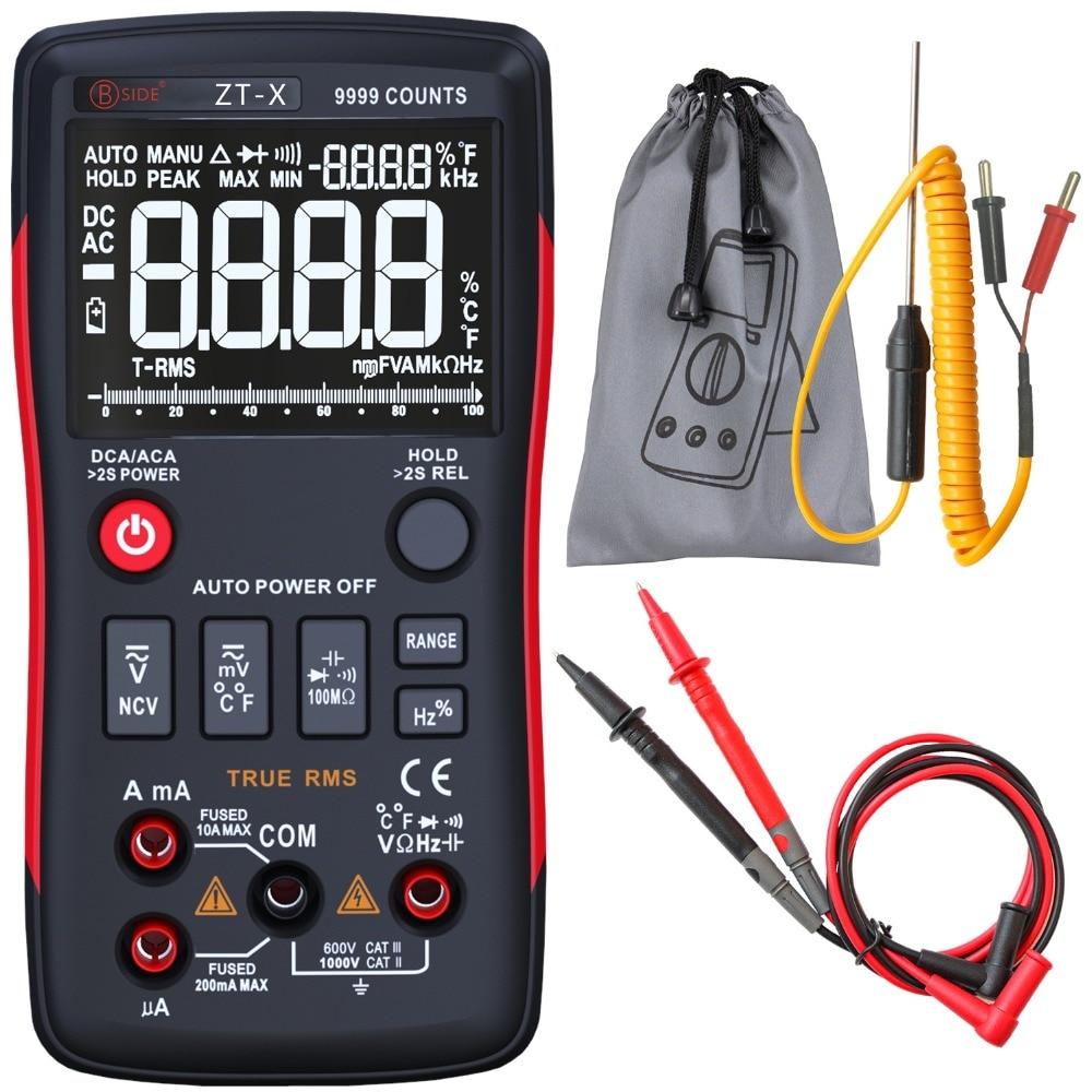 BSIDE ZT-X Vrai RMS Multimètre Numérique 3-Ligne Triple Affichage 9999 Compte AC/DC Tension Température Capacité Testeur DMM
