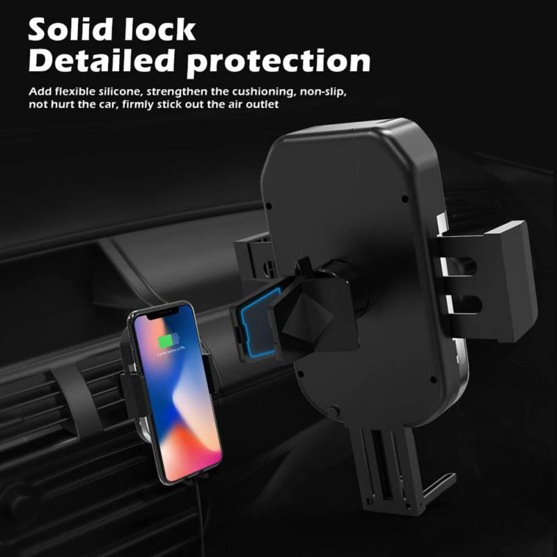 QC 3.0 Car Charger For SamSung S9/S8/Note 9 For iPhone XS/XR/X/ 8/8 Plus 2-in-1 Infrared Sensor Wireless Charger Car Bracket