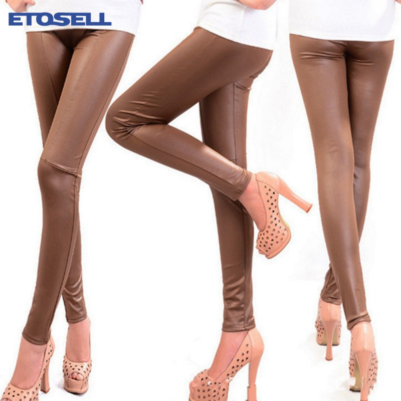 ETOSELL Pants High-Legging Imitation-Leather Ankle-Length Slim Sexy Novelty Solid Women