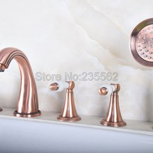 Faucet Deck-Mount Mixers Bathtub Shower 5-Holes Hand Red Ltf191 Tap Widespread Roman-Tub