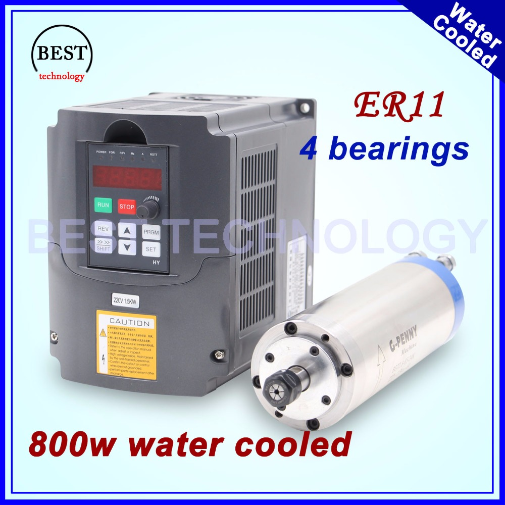 220V 800W ER11 water cooled spindle motor water cooling & 1.5kw VFD inverter Variable Frequency Drive CNC Spindle speed control water cooling spindle sets 1pcs 0 8kw er11 220v spindle motor and matching 800w inverter inverter and 65mmmount bracket clamp