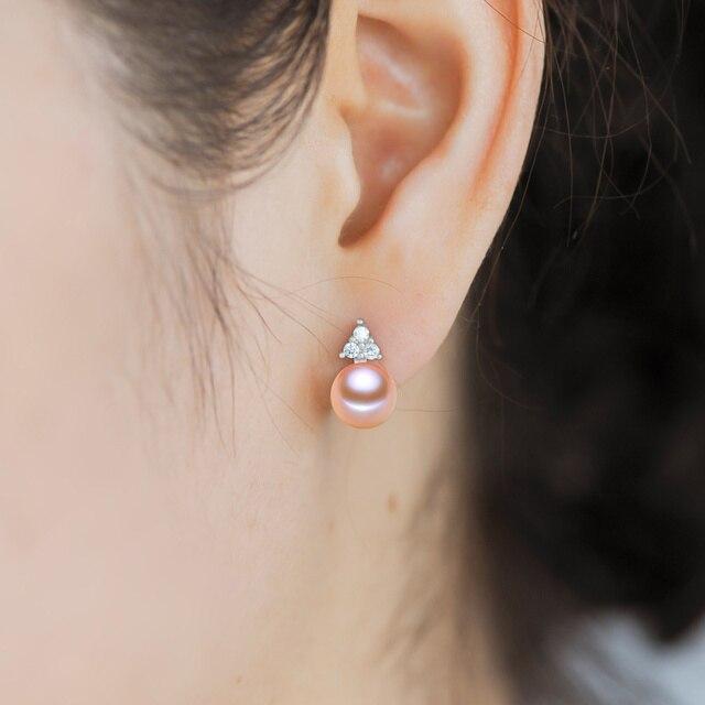 100% genuine black pearl orecchini per le donne orecchino di perla d'acqua dolce reale gioielli in argento, bella orecchini d'argento regalo di compleanno